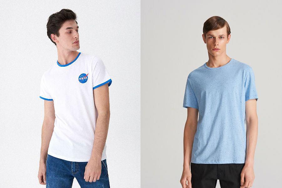 T-shirt męski w jasnym kolorze