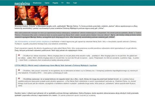 Screen artykułu w serwisie Niezależna.pl