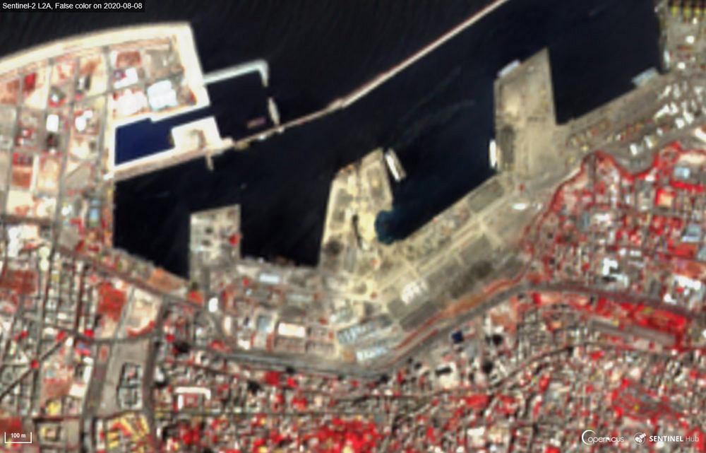Roślinność (na czerwono) w Bejrucie po wybuchu