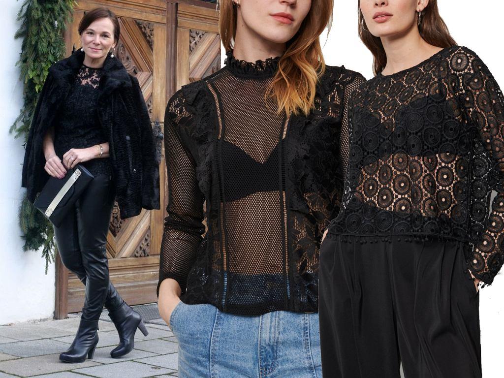 Czarne bluzki koronkowe dla dojrzałych kobiet