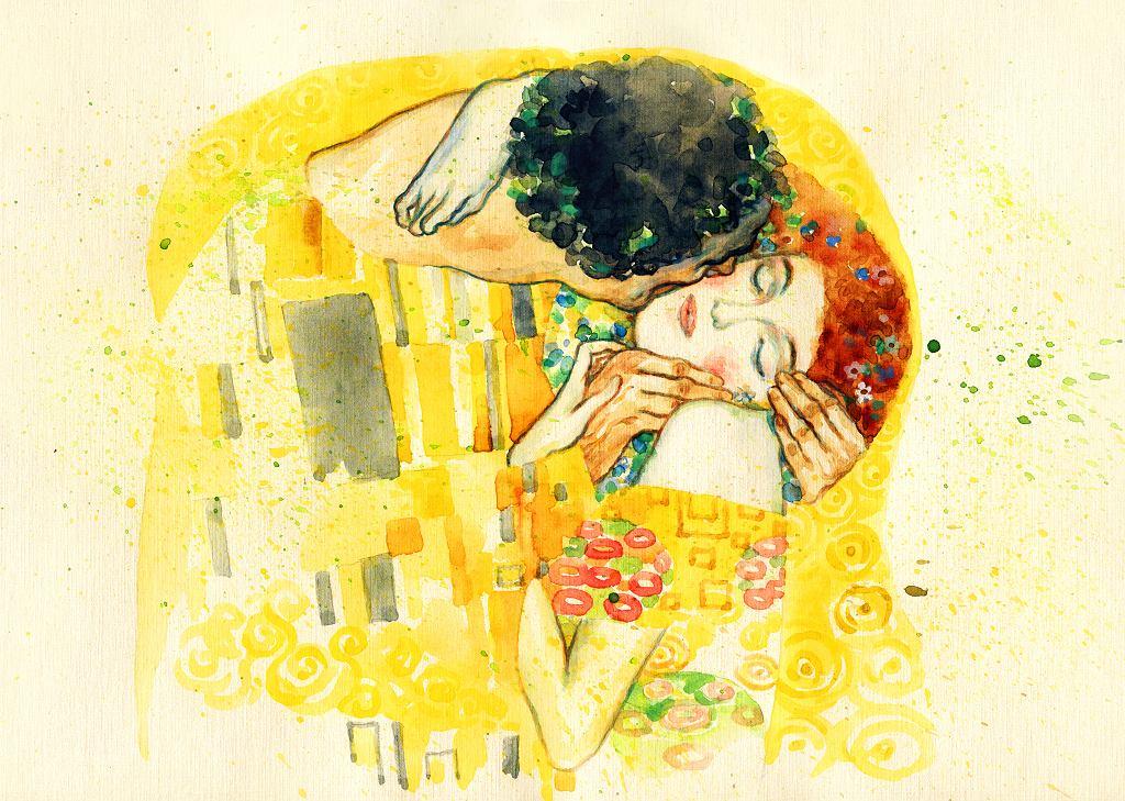 Ilustracja inspirowana dziełem 'Pocałunek' Gustava Klimta.