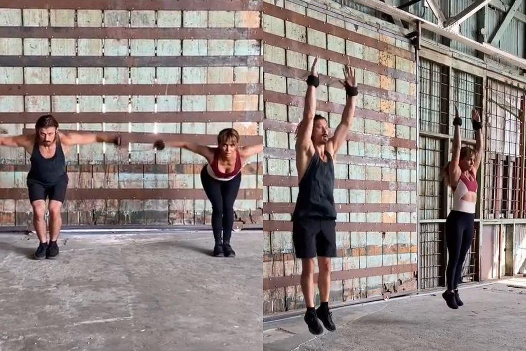Halle Berry pokazuje ćwiczenia na ramiona