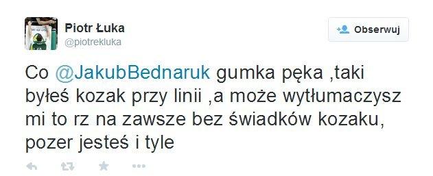 Tweet z profilu Piotra Łuki