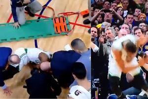 Chwile grozy w NBA. Gwiazdor Boston Celtics stracił przytomność po zderzeniu z kolegą. Przewieziono go do szpitala [WIDEO]