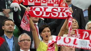 Ministra sportu Joanna Mucha podczas meczu Polska-Czechy we Wrocławiu 16 czerwca 2012 r.