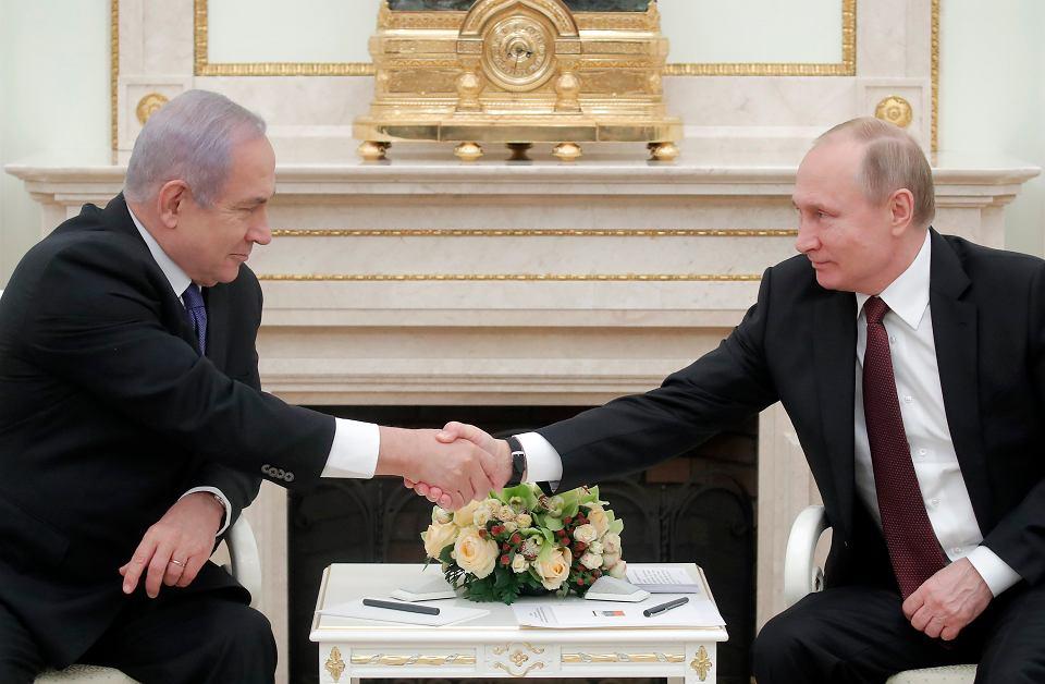 27.02.2019, Moskwa, premier Izraela Beniamin Netanjahu podczas spotkania z prezydentem Rosji Władymirem Putinem na Kremlu.