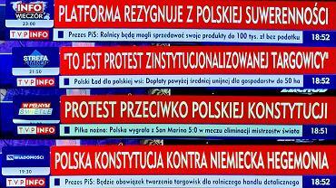 Paski z TVP Info 'informujące' o wiecu na Placu Zamkowym