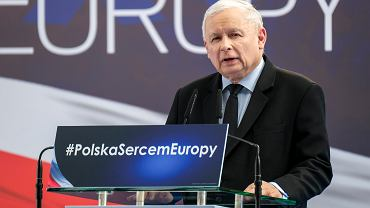 9.03.2019, Jasionka, Jarosław Kaczyński podczas wystąpienia na konwencji wyborczej Prawa i Sprawiedliwości