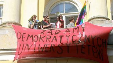Protest studentów na Uniwersytecie Warszawskim