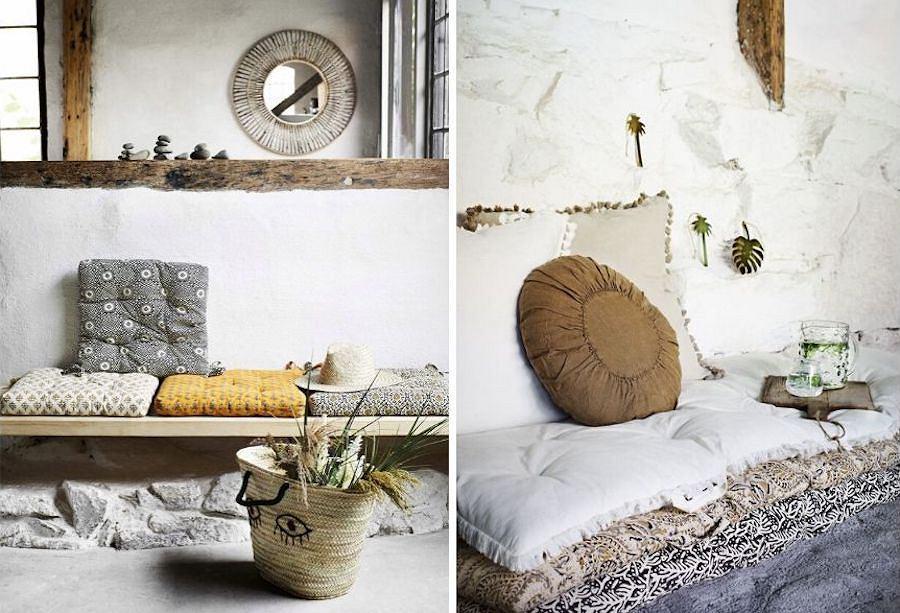 Poduszki dekoracyjne na podłogę, ławkę i krzesło