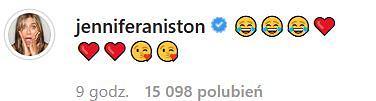 Jennifer Aniston komentuje wpis Courtney Cox