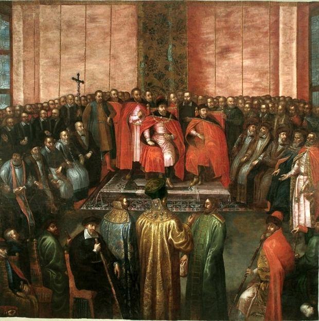29 października 1611 - hołd carów Szujskich. 'Stanisław Żółkiewski przedstawia królowi Zygmuntowi III i królewiczowi Władysławowi na sejmie 1611 r. pojmanych carów Szujskich', kopia według Tomasza Dolabelli