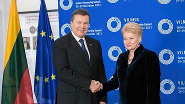 Prezydent Litwy Dalia Grybauskaite i prezydent Ukrainy Wiktor Janukowycz