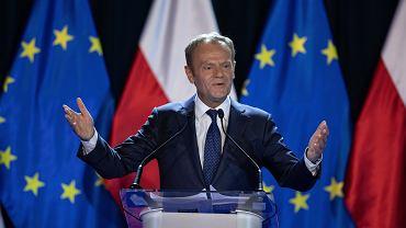 Donald Tusk podczas wystąpienia 'Nadzieja i odpowiedzialność. O Konstytucji, Europie i Wolnych Wyborach' na Uniwersytecie Warszawskim, 3.05.2019