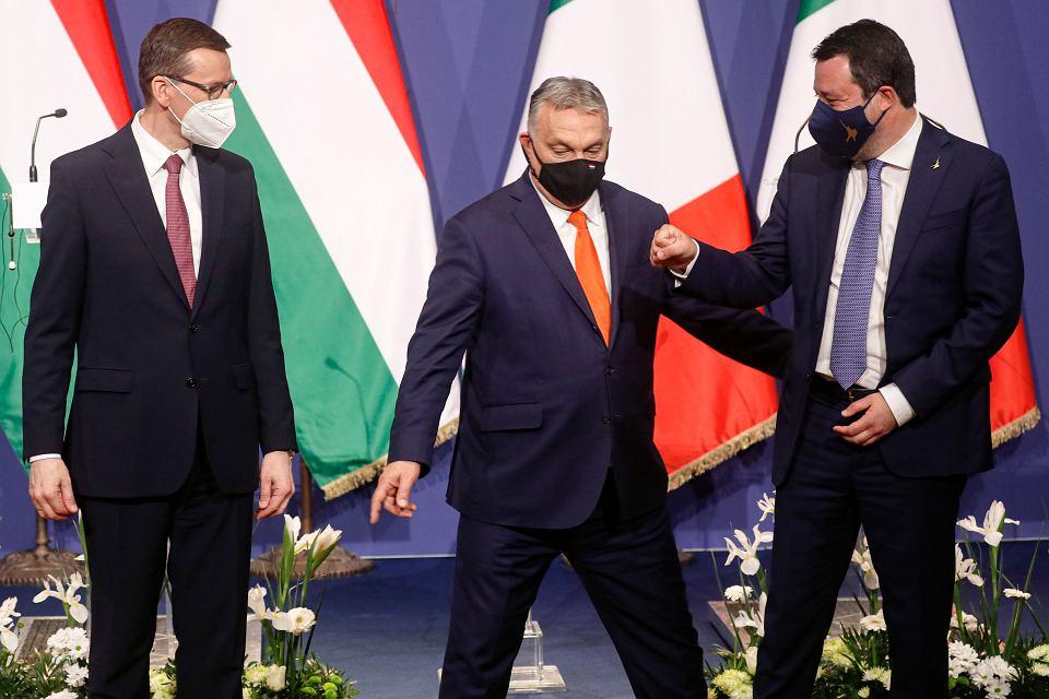 Wspólna konferencja prasowa Mateusza Morawieckiego, Viktora Orbana i Matteo Salviniego. Budapeszt, Wegry, 01.04.2021