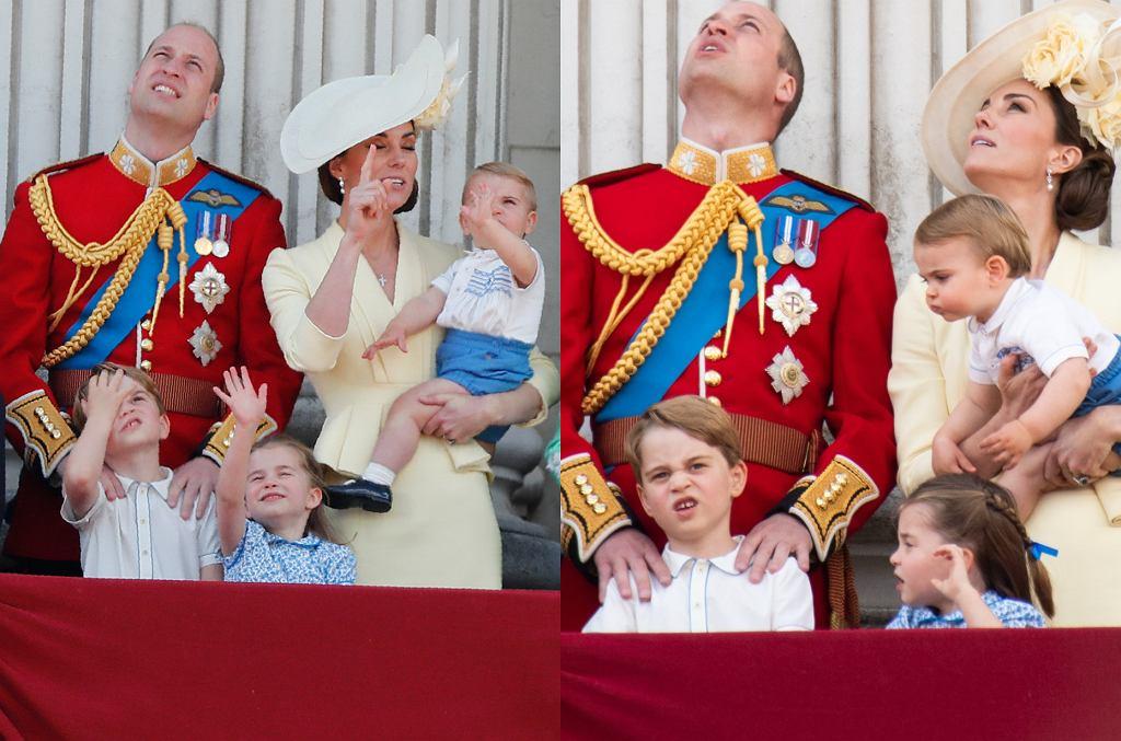 Królewska rodzina brytyjska na balkonie Pałacu Buckingham
