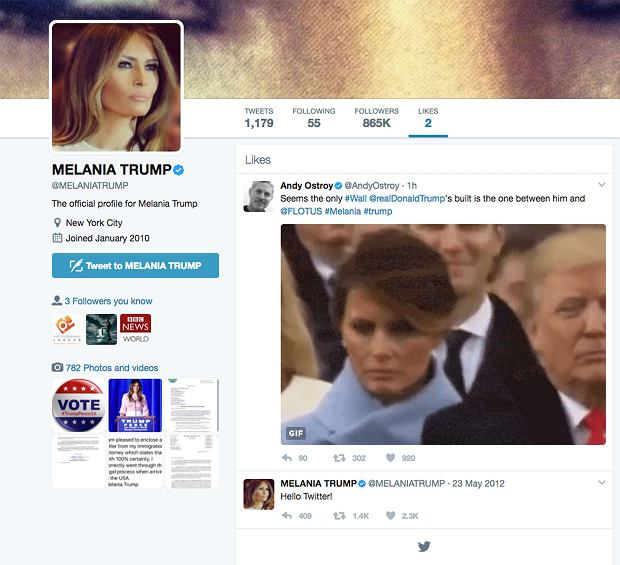 Polubienia Melanii Trump