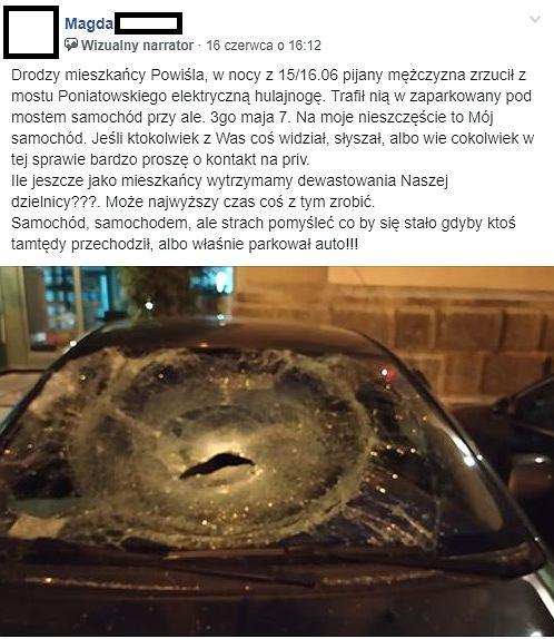 Powiśle. Hulajnoga uszkodziła samochód zaparkowany pod mostem Poniatowskiego