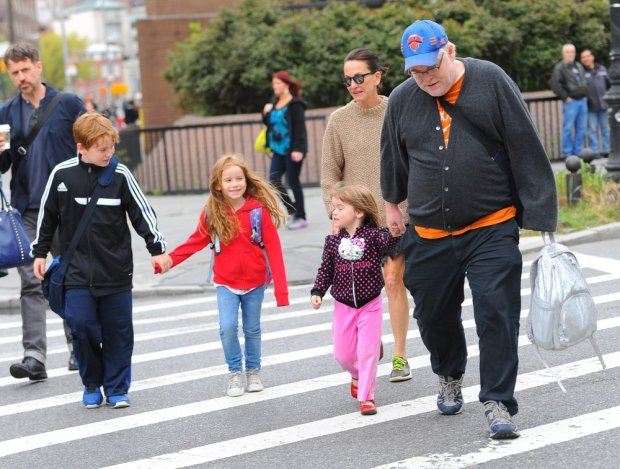 Philip Seymour Hoffman, Cooper Alexander Hoffman, Willa Hoffman and Tallulah Hoffman walk to school in NYC.  Pictured: Philip Seymour Hoffman, Cooper Alexander Hoffman, Willa Hoffman and Tallulah Hoffman