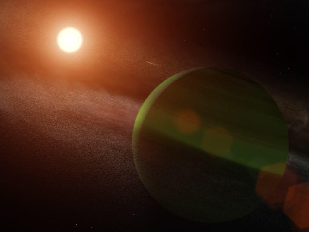 Wizja artystyczna planety AU Mic b i jej czerwonego karła