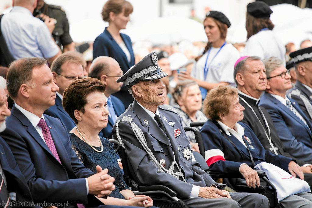 Gen. Zbigniew Ścibor-Rylski (w środku) podczas obchodów powstania warszawskiego. Warszwa, 31 lipca 2017