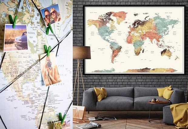Mapa świata - pomysłowa dekoracja wnętrza dla żyjących aktywnie!