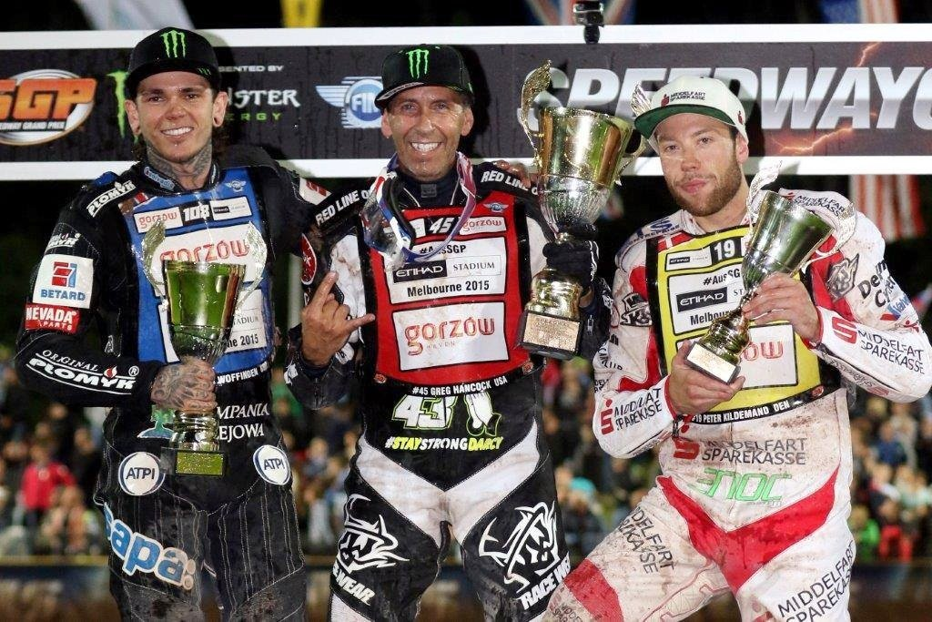 Podium Grand Prix Krsko 2015. Od lewej: Tai Woffinden, Greg Hancock i Peter Kildemand