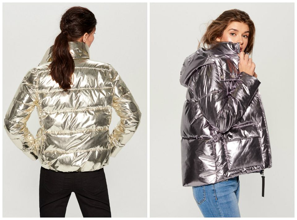kurtki damskie metaliczny kolor