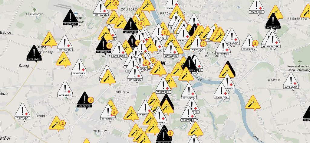Mapa wypadków w Warszawie