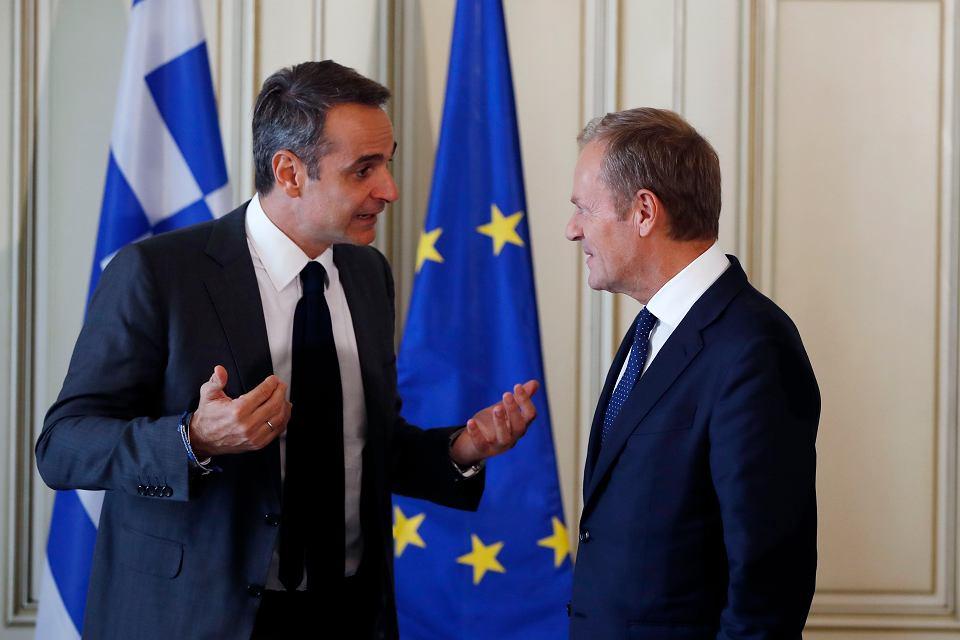 Premier Grecji Kiriakos Mitsotakis i Donald Tusk