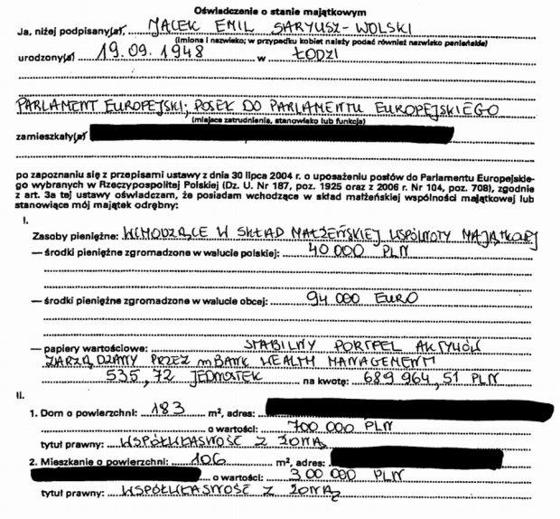 Oświadczenie majątkowe Jacka Saryusza-Wolskiego