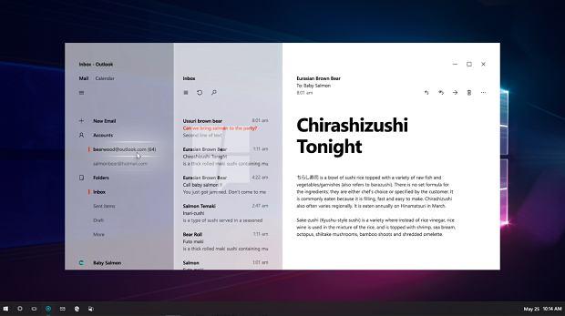 Outlook z interfejsem Neon - nieoficjalny zrzut ekranu