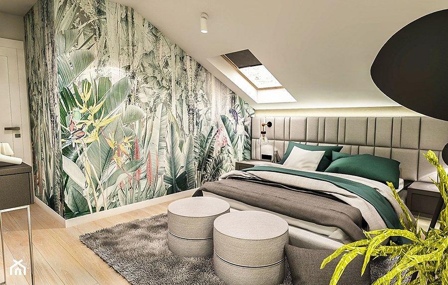 Tapeta z roślinnym motywem w sypialni w stylu skandynawskim
