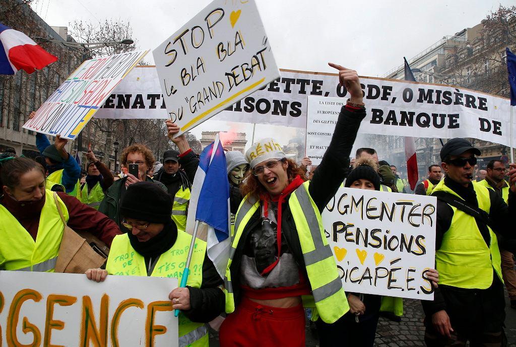Sobotnia demonstracja 'żółtych kamizelek' w Paryżu, 26 stycznia 2019