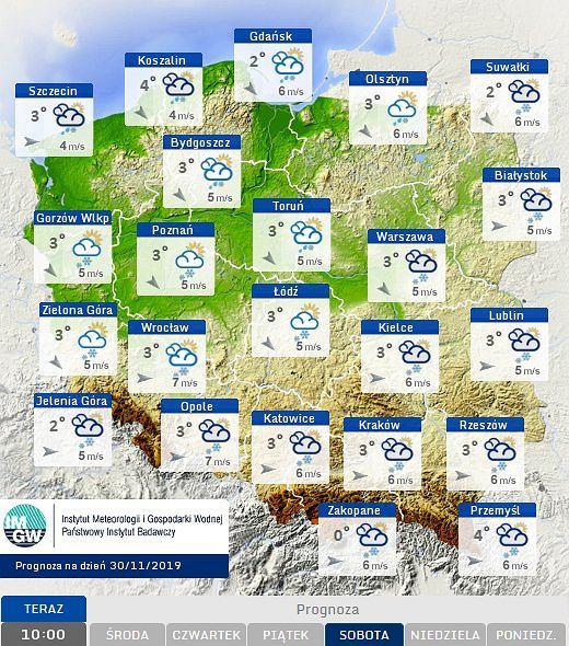 Prognoza pogody na sobotę 30.11