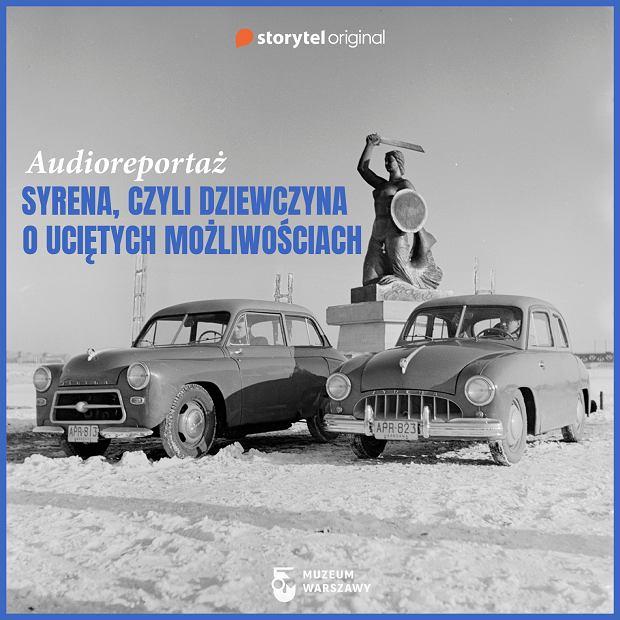 Alfred Funkiewicz; Pomnik Syreny na Powiślu i samochody marki 'Syrena', 1954 r.