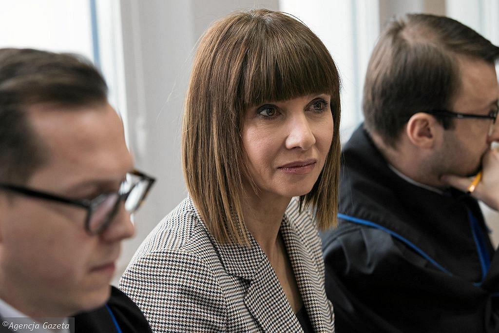 Grażyna Wolszczak podczas pierwszej rozprawa w procesie, który wytoczyła skarbowi państwa