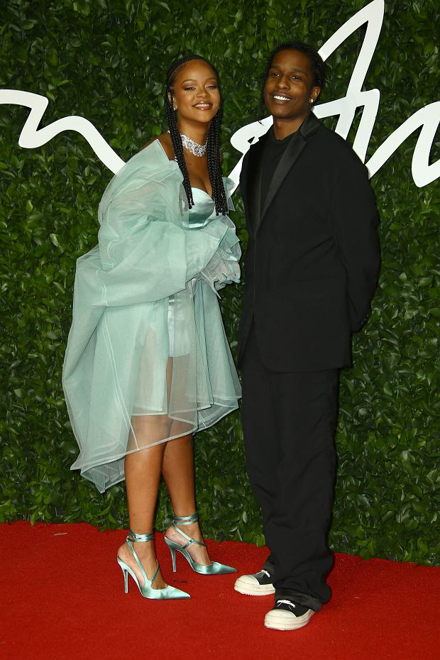 Singers Rihanna, left, and ASAP Rocky posesfor photographers upon arrival at the British Fashion Awards in central London, Monday, Dec. 2, 2019. (Photo by Joel C Ryan/Invision/AP)
