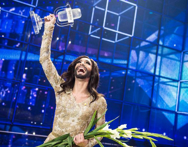 TConchita Wurst representing Austria celebrates with the trophy after winning the 59th annual Eurovision Song Contest (ESC) at the B&W Hallerne in Copenhagen, in this May 10, 2014 picture provided by Scanpix Denmark. Wurst, popularly known as the bearded lady,