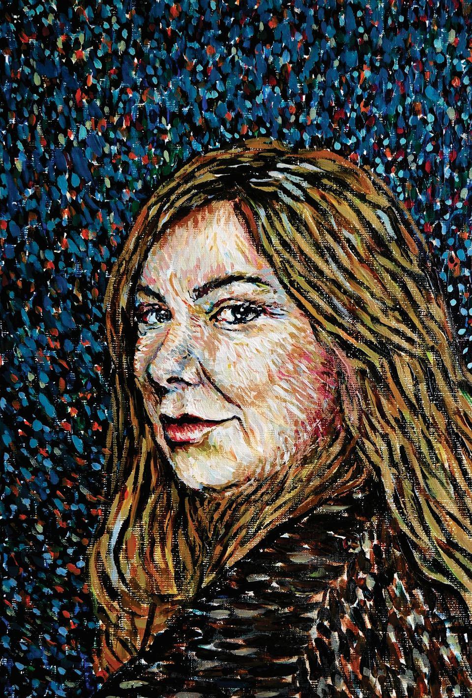 Portret Doroty Kobieli namalowany specjalnie dla nas przez Martynę Wolną, jedną z malarek pracujących przy filmie