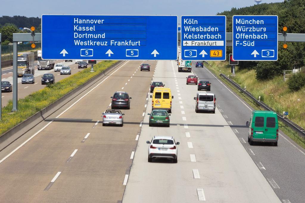 Niemcy. Autostrada w okolicach Frankfurtu - zdjęcie ilustracyjne