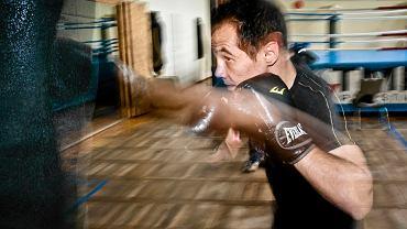 Dawid Jagodziński na treningu w hali Astorii.