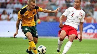 Thiago Cionek podczas meczu towarzyskiego Polska - Litwa na Stadionie Narodowym. Warszawa, 12 czerwca 2018