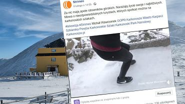 Turyści idą zimą na Śnieżkę w sportowych butach, bez czapek i bez rękawiczek