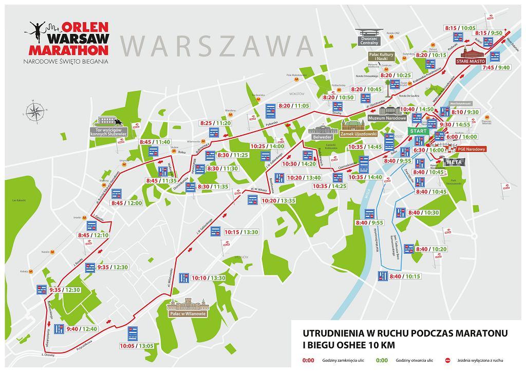 Orlen Warsaw Marathon 2019 - utrudnienia