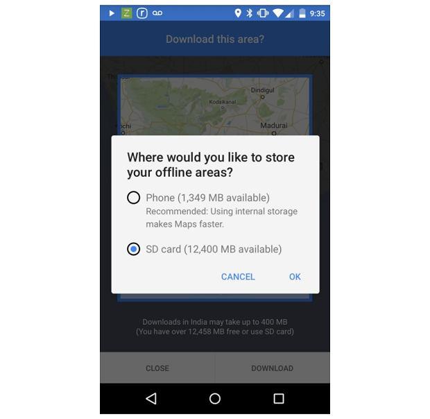 Wybór zapisu map offline w Mapach Google