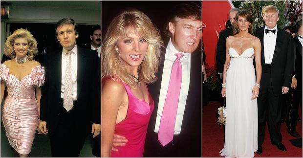 Donald Trump i jego trzy żony: Ivana Trump (od 1977 do 1992 r.), Marla Maples (od 1993 do 1999 r.) i Melanie Trump (od 2005 r.). Z pierwszą żoną wchodził do świata biznesu, z drugą wkroczył do świata mediów, z trzecią - do Białego Domu.