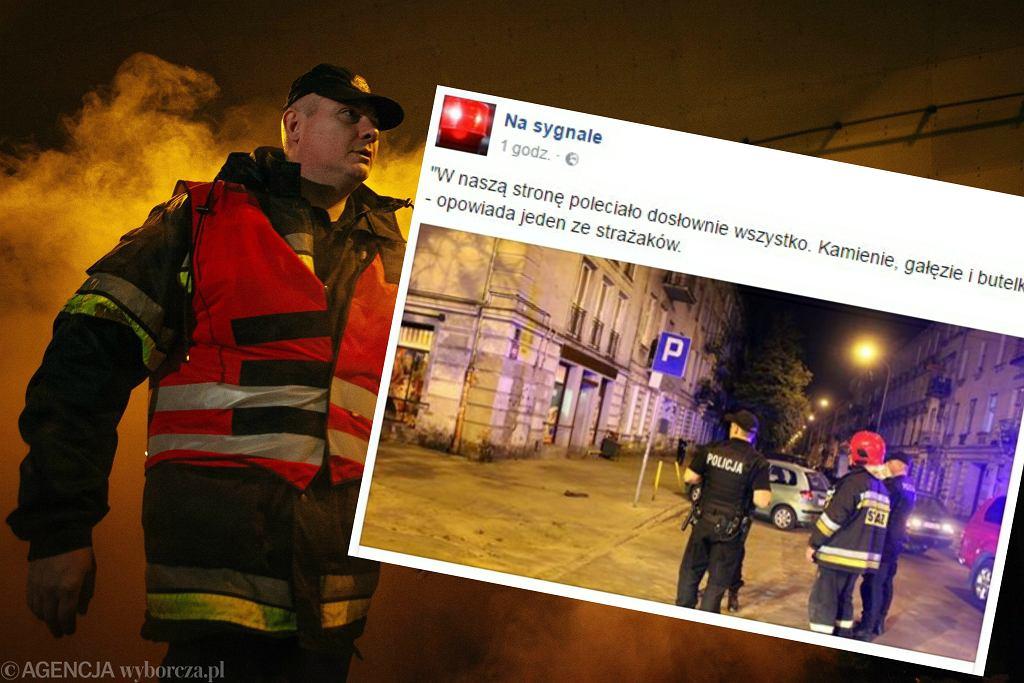 Łódzcy strażacy zostali zaatakowani przez grupę chuliganów