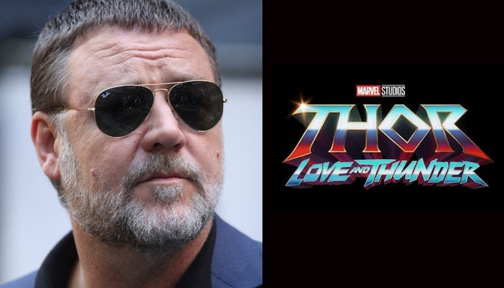 Russell Crowe / logo 'Thor: Love and Thunder'