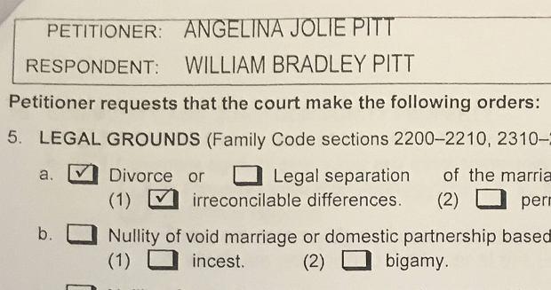 Kopia wniosku rozwodowego Jolie